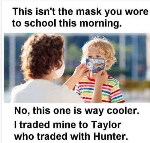 kids switching masks this one is cooler traded mine with hunter