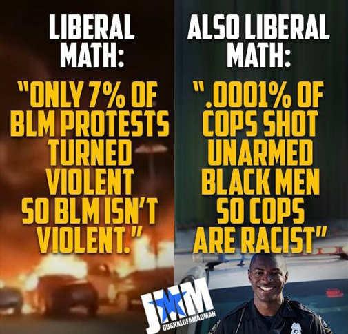 liberal math 7 percent blm protests 0001 percent cops show racist