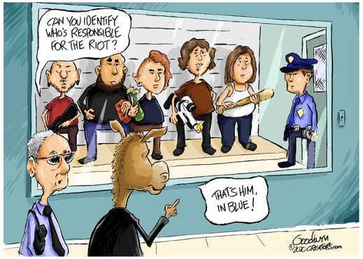 lineup identify whos responsible for riot police man democrat
