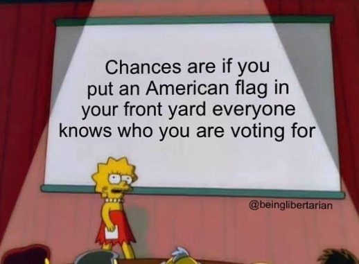 lisa simpson chances are if your front yard has a flag everyone knows who youre voting for