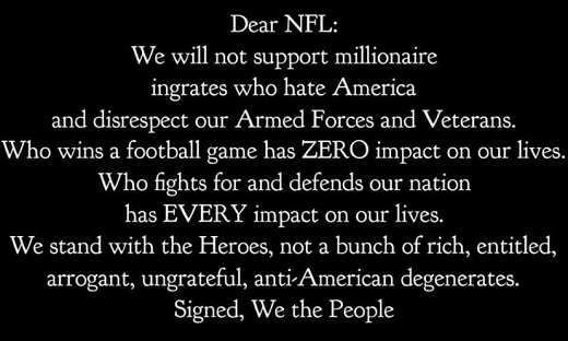 message dear nfl we will not support rich entitled ungrateful