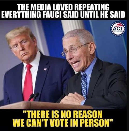 message dr fauci media loved repeating everything he said until there is no reason cant vote in person