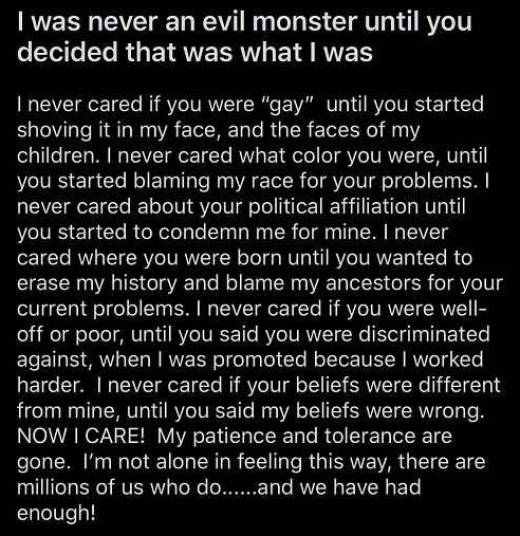 message never evil monster until you decided that i was one gay race political affiliation