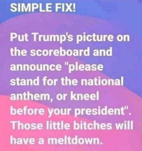put trump on scoreboard stand for national anthem or kneel before your president
