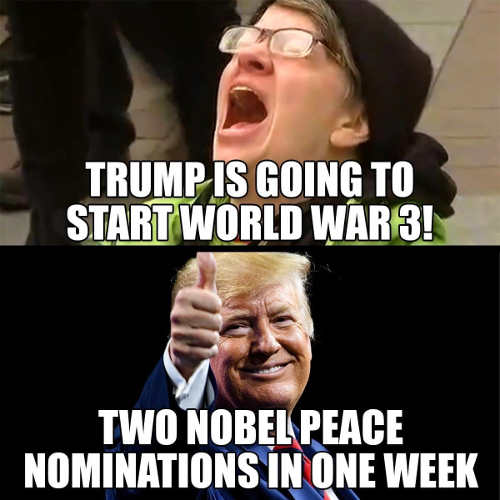 trump going to start world war 3 liberal two nobel peace prizes one week