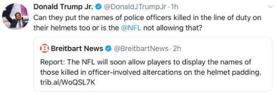 tweet donald trump jr helmets nfl not for police killed