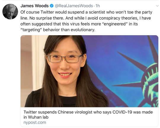 tweet james woods twitter susupends scientist virus covid 19