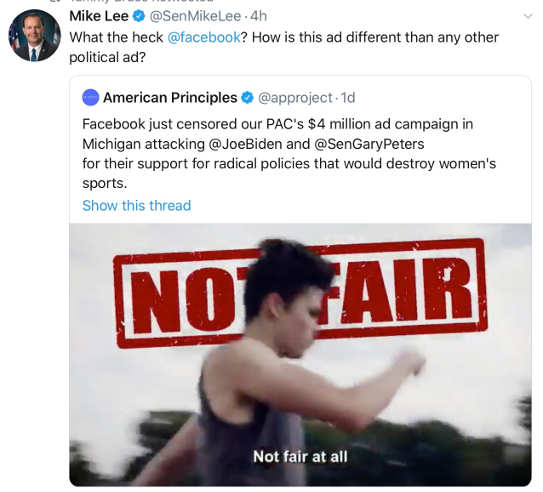 tweet mike lee facebook banning trump ads
