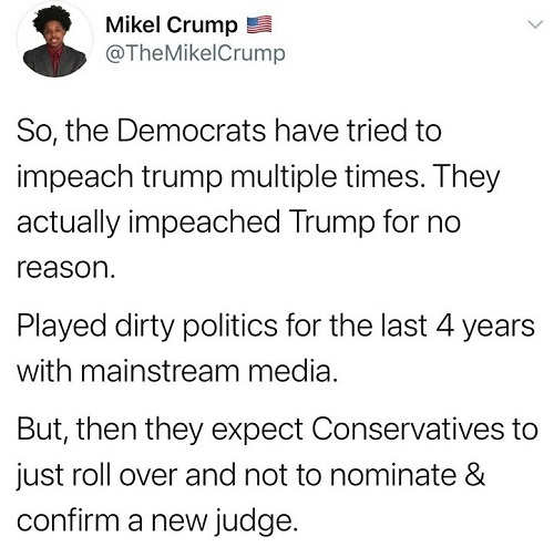 tweet mikel crump democrats tried to impeach dirty politics media expect conservatives roll over