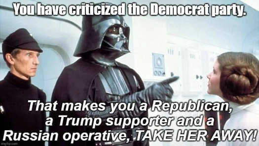 vader to leia criticized democrat party republican trump supporter russian operative take her away