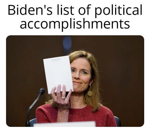 amy barrett joe bidens list of political accomplishments blank notepad