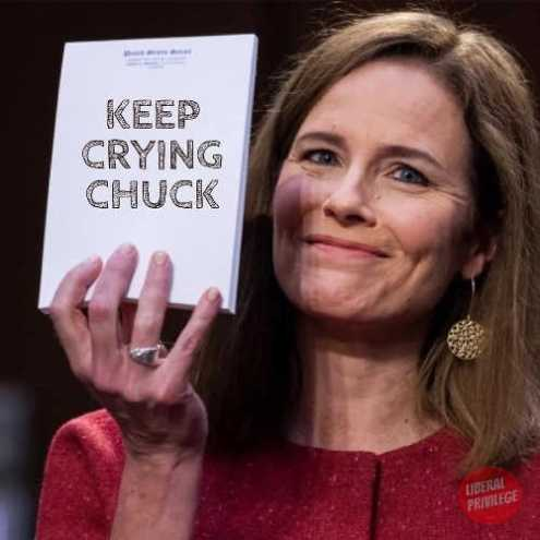 amy coney barrett keep crying chuck notepad