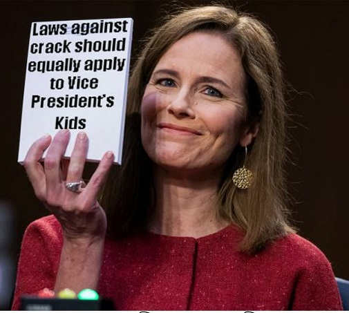 amy coney barrett notepad laws against crack should apply equally to vp biden kids