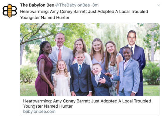 babylon bee amy coney barrett just adopted local troubled youngster hunter biden