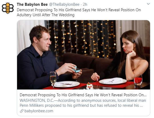 babylon bee democrat wont tell fiancee position on adultery until after wedding
