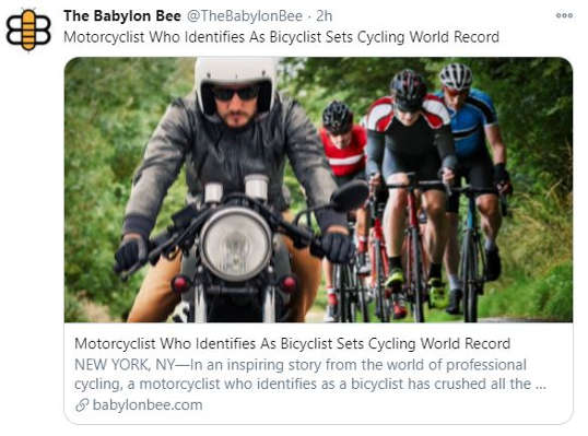 babylon bee motorcyclist identifying as biker sets cycling world record