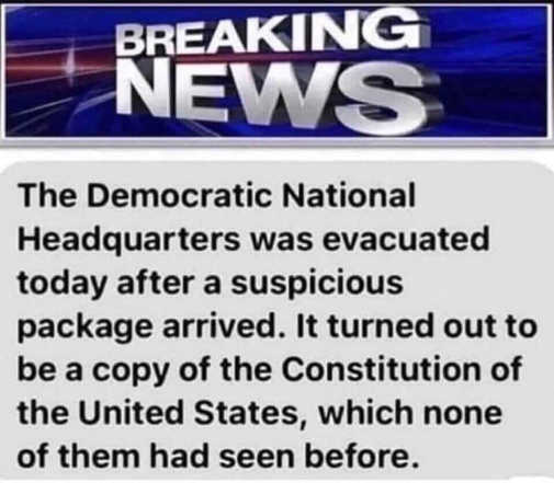 breaking news dnc evacuated suspicious looking document us constitution