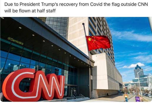 cnn due to trump recovery china flag at half mast