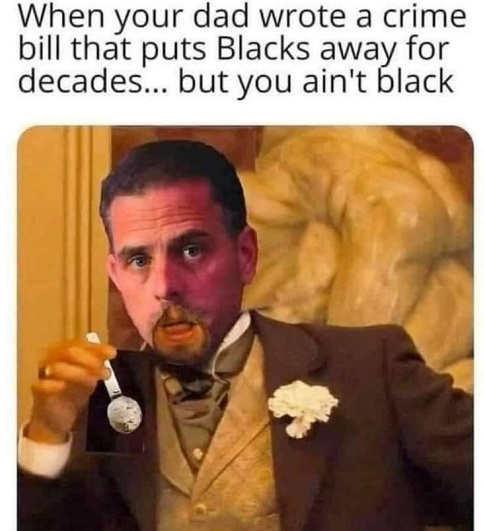 hunter biden dad wrote crime bill put blacks away but you aint black crack pipe