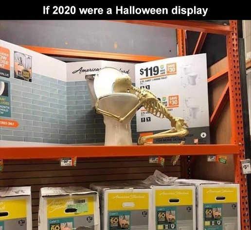if 2020 were halloween display puking skeleton