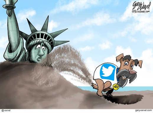 jack dorsey dog burying statue liberty twitter