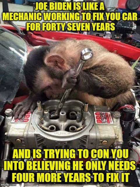 joe biden monkey mechanic fix car 47 years needs 4 more years
