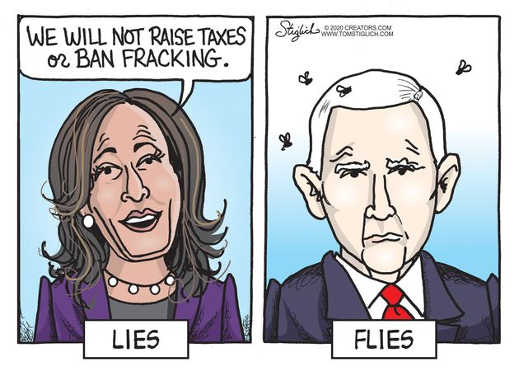 kamala harris wont raise taxes or ban fracking lies pence flies
