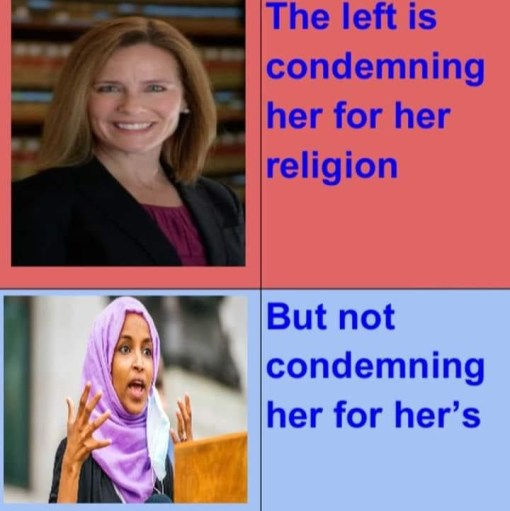 left condemning amy comey barrett religion but how omar for muslim