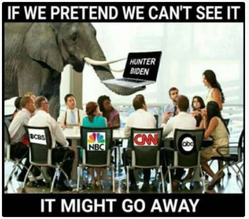 mainstream media hunter biden elephant if we pretend cant see it might go away nbc cbs cnn msnbc nyt wapo abc