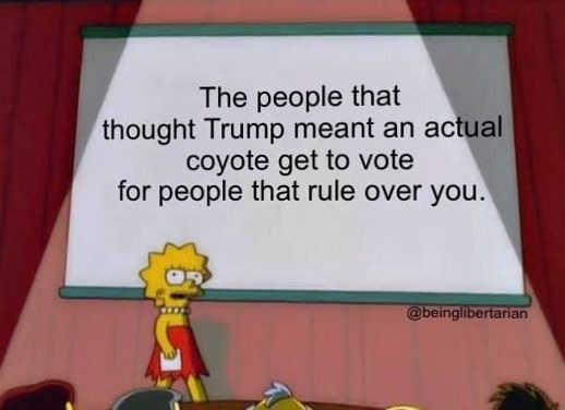 the people that thought Trump meant actual coyote get to vote for people that rule over you lisa simpson