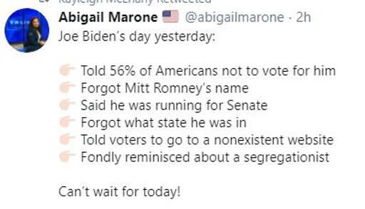 tweet abigail marone joe bidens day 56 percent not vote for him mitt romney