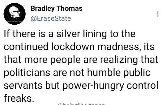 tweet bradley thomas silver lining lockdown people realizing politicians not public servants power hungry control freaks