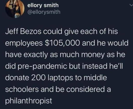 tweet jeff bezos could give each employee 105000 as much money as pre pandemic