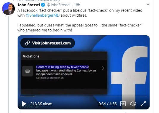 tweet john stoessel facebook fact checkers no appeal missing context