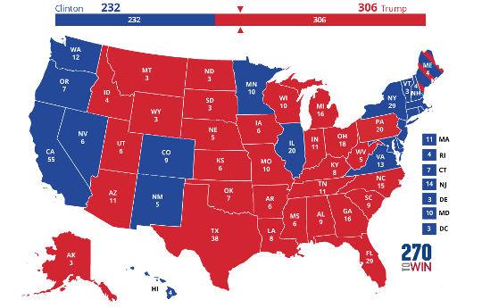 2016 electoral map trump clinton states