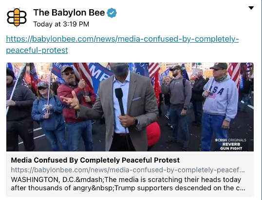 babylon bee media confused by peaceful protest trump supporters