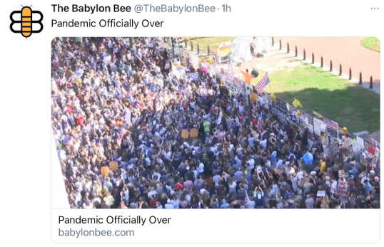 babylon bee pandemic officially over large crowd
