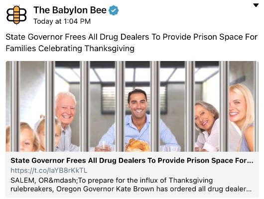 babylon bee state governor frees drug deals space for families celebrating thanksgiving