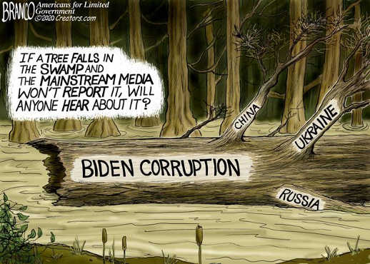 biden corruption if tree falls swamp mainstream media china ukraine russia wont report