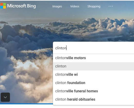 bing clinton body auto suggest