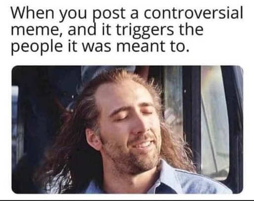cage when you post controversial meme triggers people it was meant to