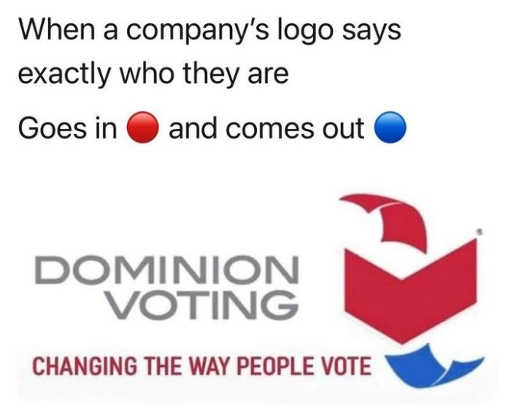dominion what company says exactly what are goes in red comes out blue