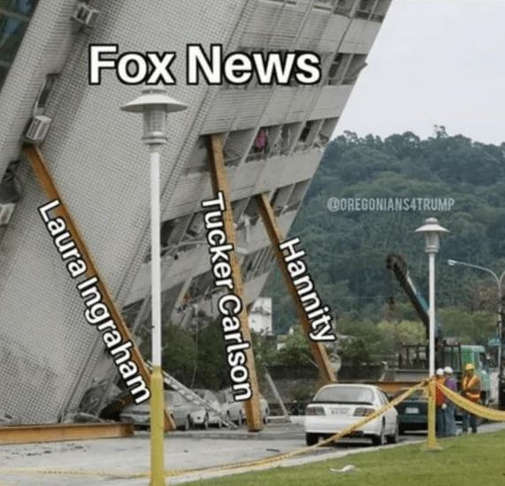 fox news building falling ingraham tucker carlson sean hannity holding up