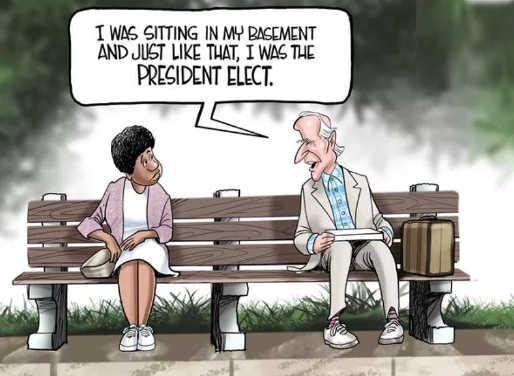 joe biden forrest gump just sitting in basement just like that president
