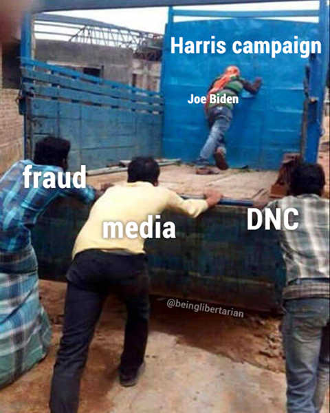 kamala harris campaign pushed by biden fraud dnc media