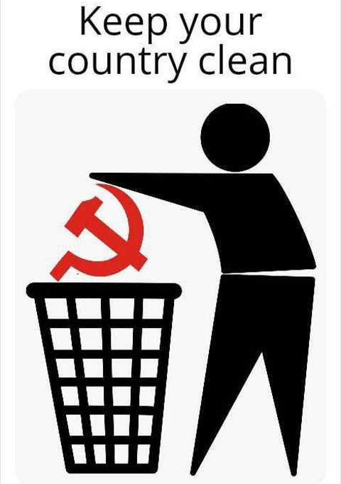 keep your country clean putting soviet sickle into trash communism