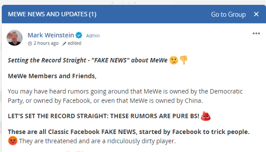 mewe is not owned by democratic party fake news facebook