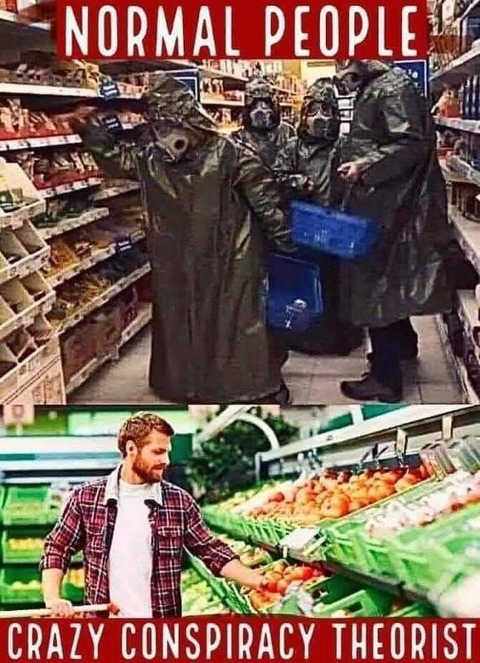 normal people crazy conspiracy theorist grocery shopping