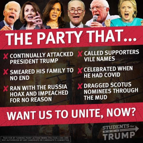 party russian hoax impeachment name calling wants us to unite now