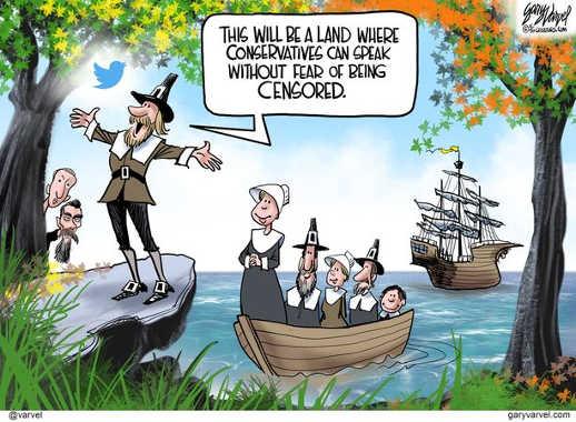 pilgrims america this is land where conservatives speak without censorship zuckerberg dorsey